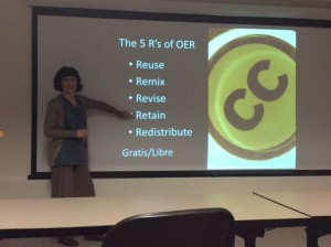 Robin DeRosa presenting at the kickoff of the OER Ambassador Pilot at UNH